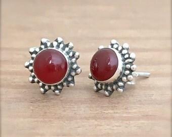 Boho Sun Carnelian and Sterling Silver Stud Earrings, Carnelian Studs, Small Studs Earrings, Gemstone Studs, Carnelian Jewelry, Boho Jewelry