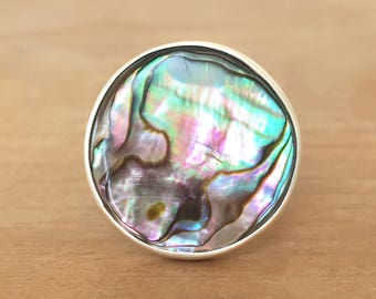 Abalone Silver Ring, Abalone Ring, Sterling Silver Ring, Mermaid Ring, Round Ring, Adjustable Ring, Silver Abalone Ring, Paua Shell Ring