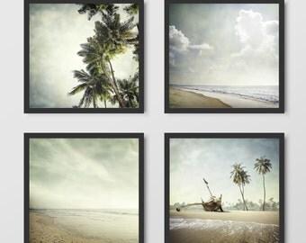 Beach decor, Tropical print, Beach photography set, Beach print, Beach set, Tropical art, Set of 4, Coastal decor, Coastal print, Print set