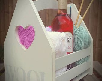Wooden Wool Crate. Handmade. Custom made. Shabby Chic. Farrow & Ball Colours. Crate