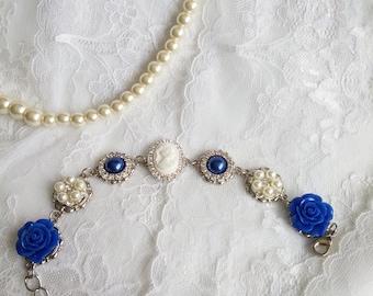 Bridesmaid bracelet,  Victorian bracelet, blue bracelet, Victorian wedding, something blue, Marie Antoinette, Bridesmaids bracelet, OOAK