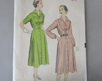 Uncommon 1950s Advance Pattern #6099 for Women's Size 18 Long and Short Sleeved Dresses