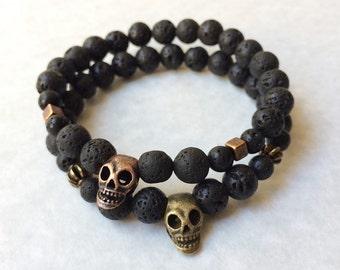 Skull Bracelet in Lava Stone & Copper or Bronze, gift for men, gift for women,  day of the dead, rock star, men's bracelet, women's bracelet