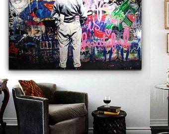 Mr Brainwash Sick Street Art Grafitti -Street Art Pop Art Canvas Print 36 x24