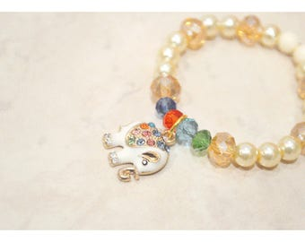 Pearl and Colorful Crystal Elephant Toddler Charm Bracelet -kids accessories - toddler jewelry - baby bracelet - good luck elephant bracelet