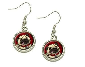 Pug Sticking Out Tongue Dangling Drop Charm Earrings