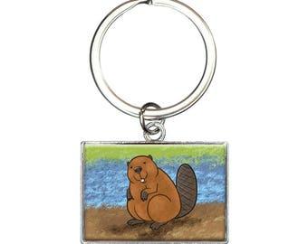 Beaver Rectangle Keychain Key Ring