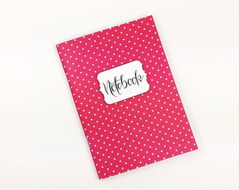 A6 notebook journal with 56 pages, project book, diary, travel notes, designer paper, Bulletjournal, for notes, customizable