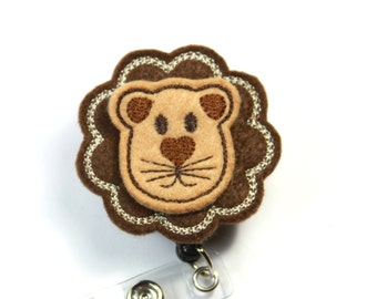 LION Badge Reel, Lion Lanyard, Brown lion badge reel, Felt badge Reel, Lion felt badge Reel, Retractable badge reel