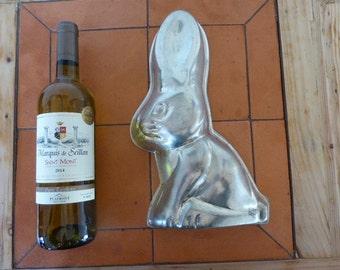 Vintage French Rabbit Jelly Mould, Kitchenalia, Lindt Rabbit Aluminium Mould, Large Rabbit Mould 0417024-127