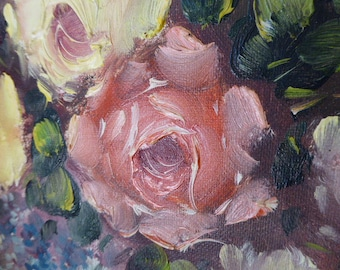 French Floral Oil Painting, Still Life Roses in Oil, Oil on Canvas, Framed Oil Painting, European Art