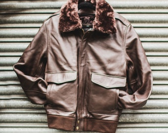 80's Style Brown Leather & Shearling Collar Pilot jacket (Removable Double Lining)