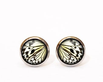 Butterfly earrings, Butterfly wing earring studs, Butterfly jewelry, Everyday earrings, Mustard tiny earrings, Ear posts, Tribal Earrings UK