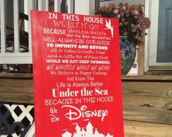 Disney Sign, In this house we do disney, Hakuna Matata, Disney castle, Disney family, Red Disney, Disney Christmas gift, Birthday Gift