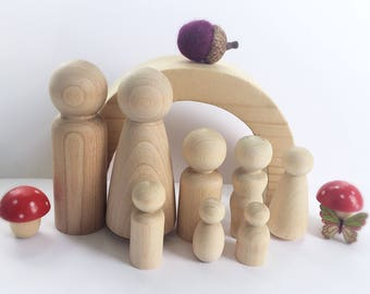 Peg doll family sets, Waldorf, Montessori, Reggio Emilia inspired unfinished wood dolls, eco friendly, open ended play