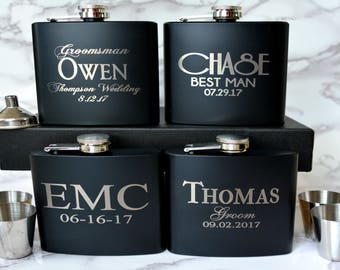 Set of 8, Groomsmen Gift, Flask Gift Set, Personalized Flask, Custom Flask, Groomsmen Flask, Wedding Party Gift, Best Man Flask, Groomsman
