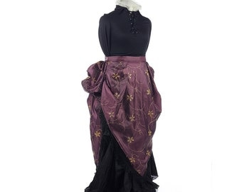 Bustled Apron Overskirt Victorian Skirt Steampunk Skirt Historical Reproduction Bustle Gothic Skirt