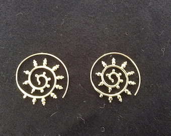 Bronze spiral Sun earrings