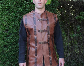 Brown leather tabard Medieval jerkin LARP's tunic vest Barbarian archer