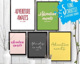 Small Adventure Awaits Quote Print, Wall Art, Room Decor, Modern, Poster, Unique Housewarming Gift, Kitchen Art, Pastel A4 8x10 Ikea 21x30