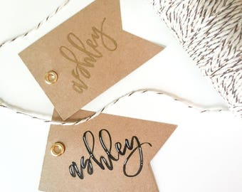 Kraft | Tags | Gold | Eyelet | Gift | Gift Tag | Hand Lettering | Custom | Calligraphy