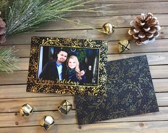 Christmas Card - Photo Christmas Card - Black and Gold Foliage