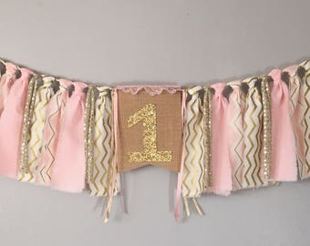 Light Pink and gold Birthday banner, one burlap banner, pink gold highchair banner, first birthday decorations, smash cake, first birthday