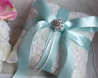 Ivory Ring Pillow, Ring Bearer Pillow, Lace Ring Cushion, Aqua Ring Pillow, Something Blue Pillow, Ivory Silk Ring Pillow, Satin Ring Pillow