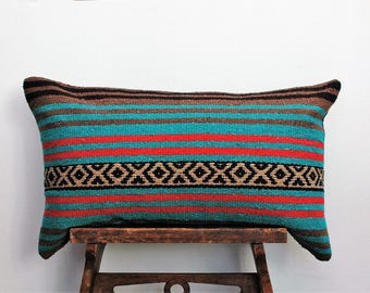 Teal and Brown Mexican Blanket Lumbar Pillow Cover, Bohemian Pillow, Ethnic Pillow Cover, Boho Pillow Case, CasualPillow Case