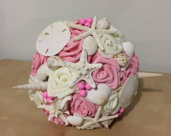 Seashell Bouquet, for bride or Bridesmaids, Beach wedding bouquet