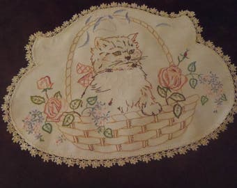 Vintage Kitten Doily Hand Embroidered Kitten  Basket Flowers Crocheted Border 16inch  (41 cm) X 12 1/2 inch (31 cm)
