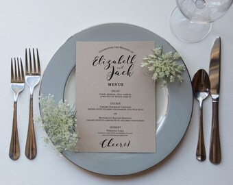 Modern Kraft Calligraphy Wedding Reception Menu - Finished Printed Menus