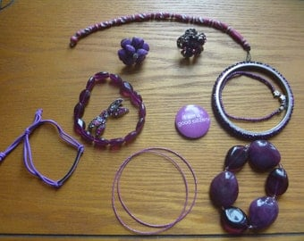 purple jewellery destash, salvage jewelery