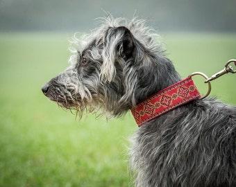 1.5 inch wide collar, whippet collar, martingale collar, red collar, lurcher collar, jacquard collar, dog collar uk, handmade collar, saluki