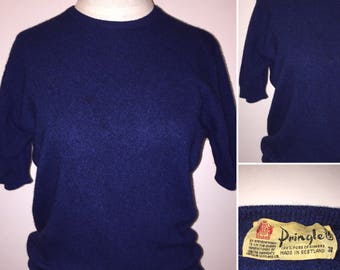 Vintage 1950s 1960s 50s 60s Pringle of Scotland Spring Short Sleeve Cashmere Sweater Size Small to Medium Dark Blue