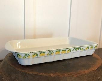Vintage PORCELAINE DU REUSSY White Casserole or Baking Dish with Lemon Border Pattern   Made in France