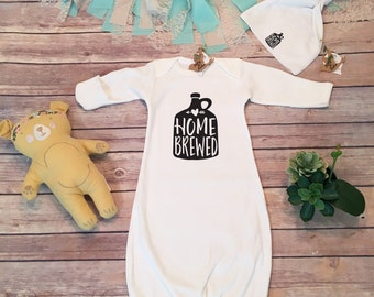 Newborn Boy Coming Home Outfit, Baby Boy Take Home, Homebrewed Funny Baby Boy Gift, Baby Sleep Sack, Baby Sleep Gown,Baby Hat,Beer Baby Gift