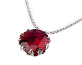 CROWN Silver Ruby Charm Necklace, Ruby Necklace, Birthstone Necklace for Mom, Dainty Necklace, Birthstone Charm Necklace