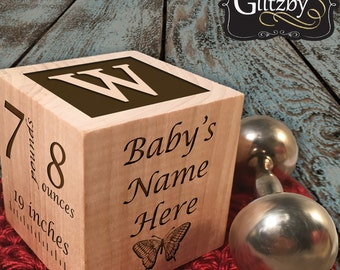 Personalized New Baby Gift Birth Block Personalized Baby Block Personalized Baby Item Newborn Keepsake Baby Girl Baby Boy