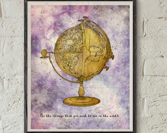 Mahatma Gandhi Quote - Earth Globe Art - World Map Wall Decor - Vintage Globe Printable - Life Quote Print - Vintage Map Wall Art