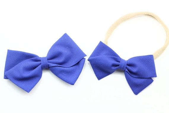 Periwinkle Solid- Baby Girl, Toddler, Fabric Bows, Newborn, Hand tied bow