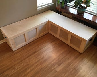 Custom Corner Window Bench with Drawer Storage (bare wood/unfinished)