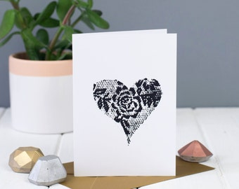 Set of 3 Lace print Heart Cards