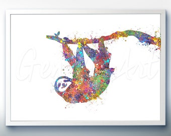 Sloth Watercolor Art Print  - Home Living - Animal Painting - Rabbit Poster - Wall Decor - Home Decor - House Warming Gift