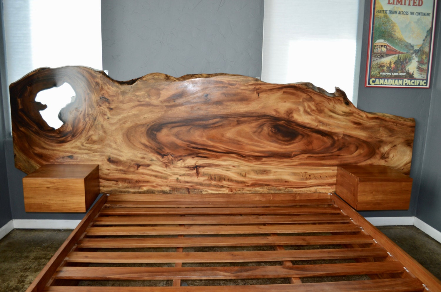 Gorgeous Hand Made Acacia Live Edge Slab And Teak Platform
