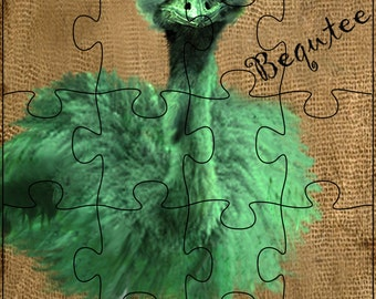 Wooden puzzle. 20 piece puzzle.  Bequtee green emu with roller skates.