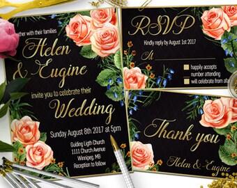 Watercolor Wedding Invite, Gold and Black Wedding Invitation, Black Wedding Invitation, Gold Wedding Invitation, Floral wedding Invitation