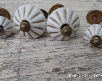 Vintage Porcelain Drawer Pulls Set of Four White Gold Gilded Drawer Knobs Door Knobs