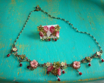 Colleen Toland Handmade Floral Necklace and Earring Set