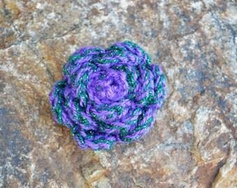 Purple and Shimmer Dark Green Crochet Rose Clip